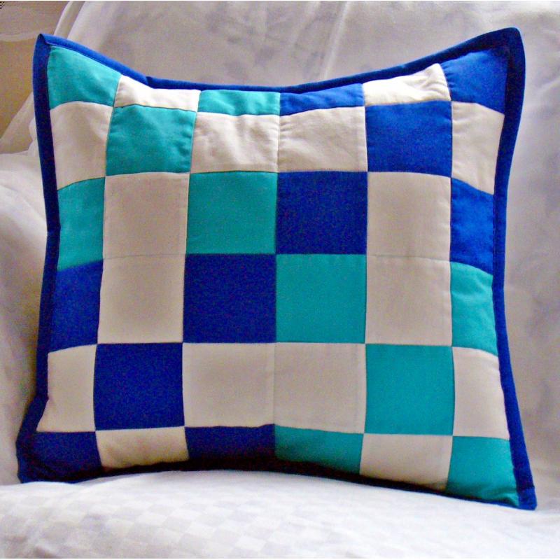 Modrozelená kostka - povlak na polštář  - 1