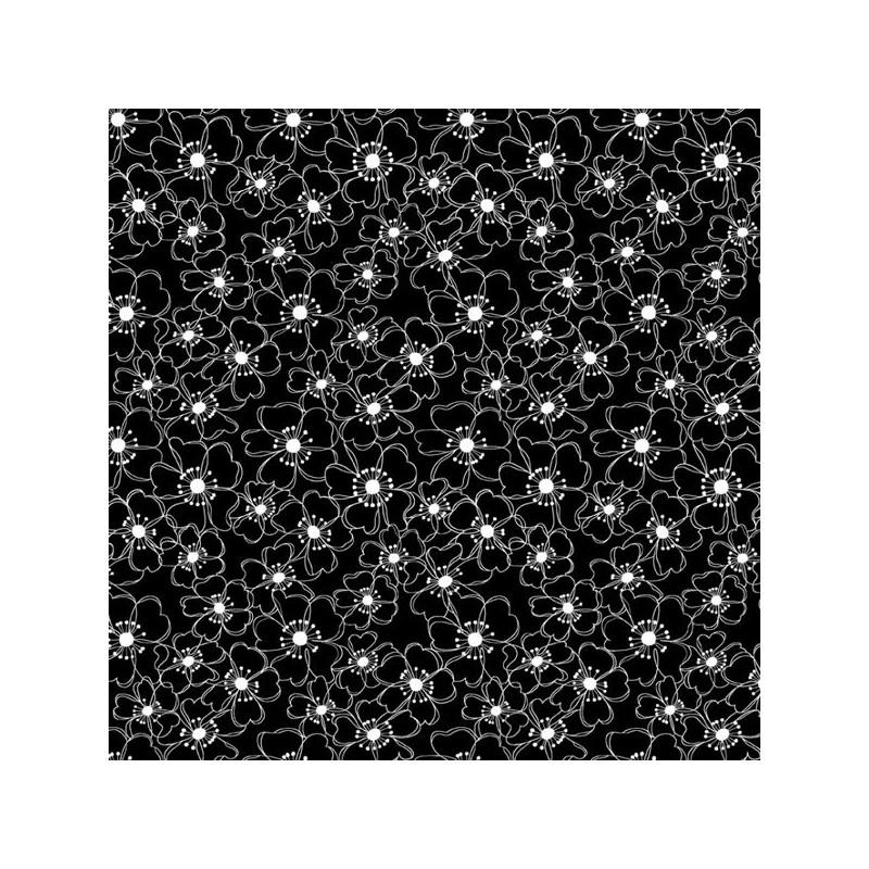 Bavlněná látka - T0060-Black Posies STUDIO E - 1