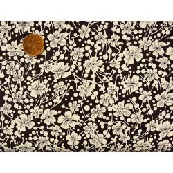Baumwolle Stoff - T0061 - Schwarz Blumen