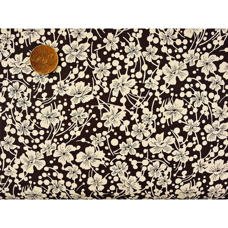 Cotton fabric - T0061 - Black Flowers