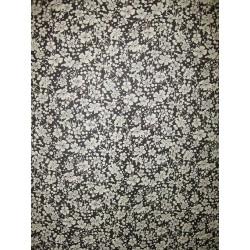 Bavlněná látka - T0061 - Black Flowers Blue Hill Fabrics - 2