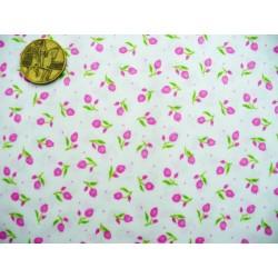 Bavlněná látka - T0076-růžové tulipány