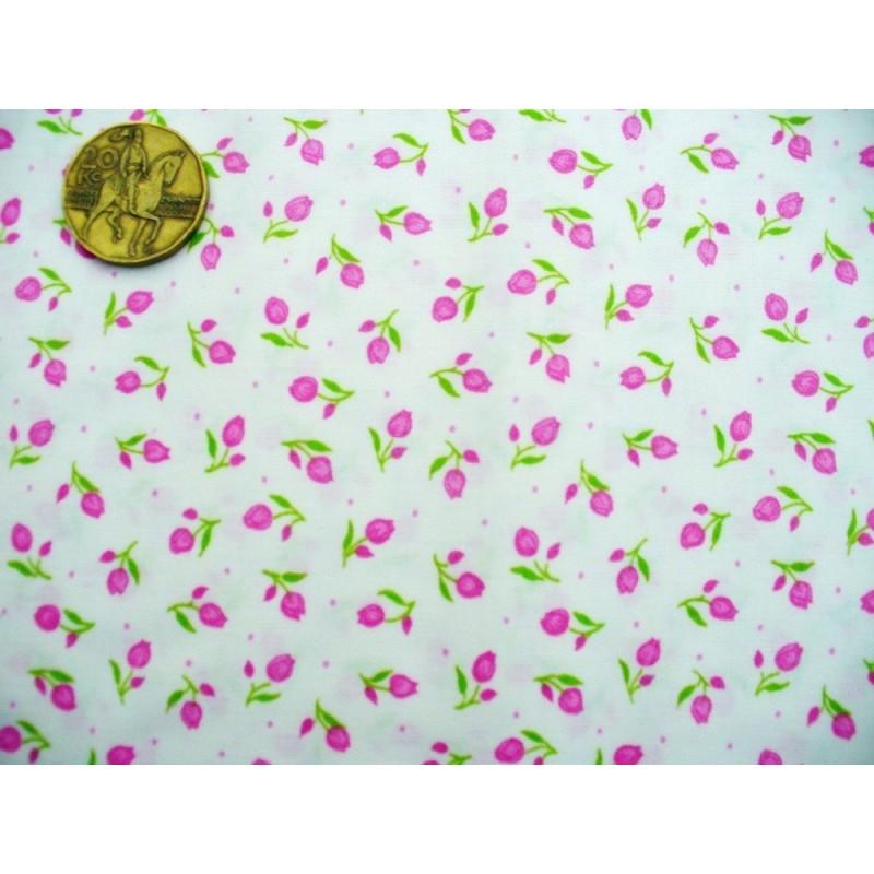 Bavlněná látka - T0076-růžové tulipány Ostatní - 1