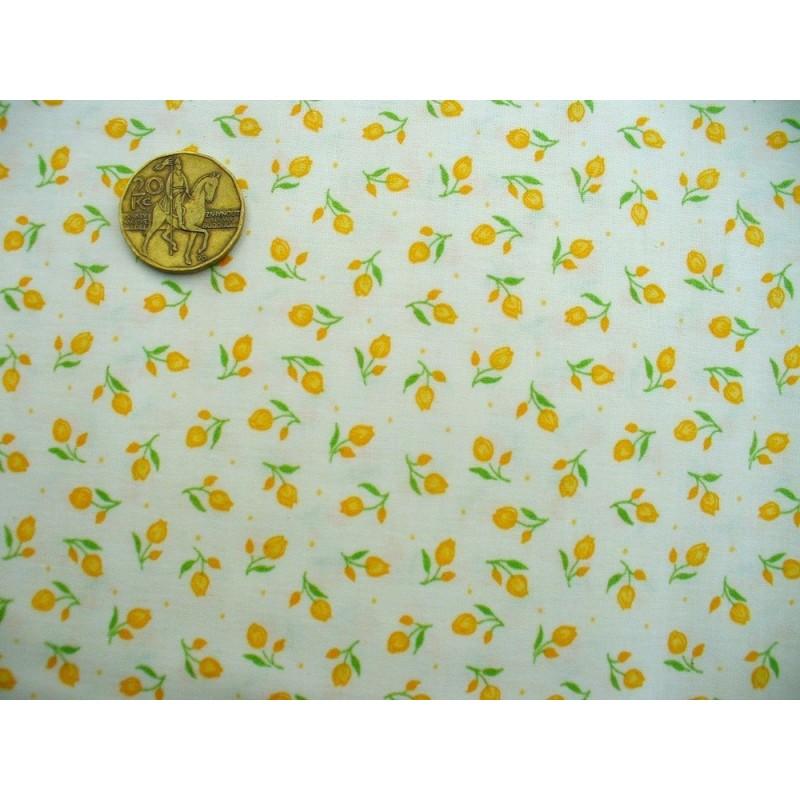 Cotton fabric - T0077-yellow tulips