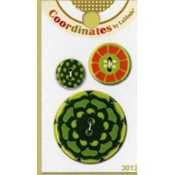 Műanyag mandzsettagomb - Koordináták Kaleidoszkóp