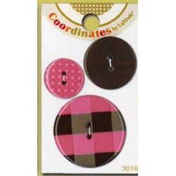 Plastové knoflíčky - Coordinates Pink Plaid  - 1