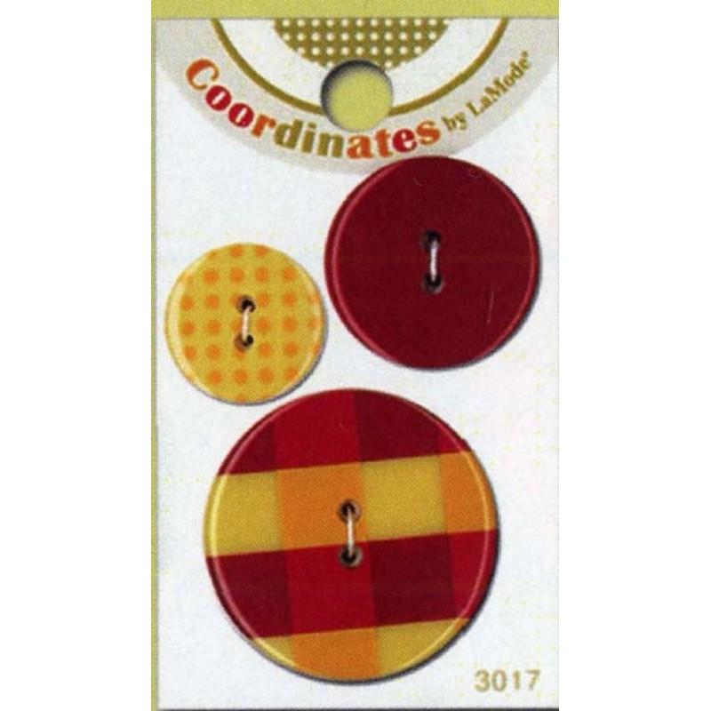 Plastové knoflíčky - Red Plaid  - 1