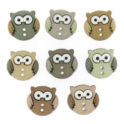 Plastové knoflíčky - Sew Cute Owls- Sovičky