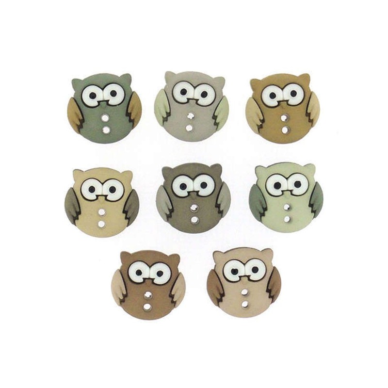 Plastové knoflíčky - Sew Cute Owls- Sovičky  - 1