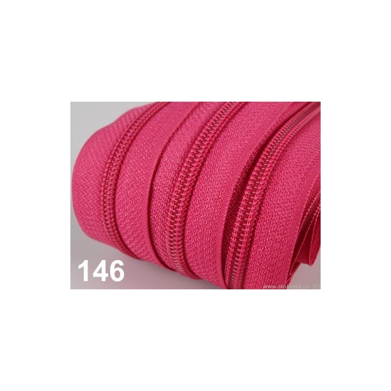 Zip spirálový 5mm metráž POL - růžová