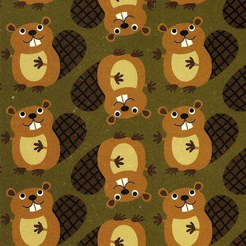 Green Beavers-bavlněná látka Timeless Treasures - 1