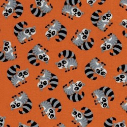 Orange Racoons-bavlněná látka