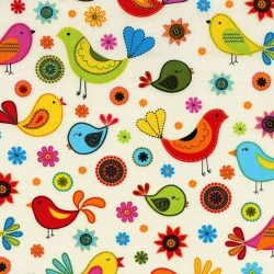 Cream Floral Birds-cotton fabric