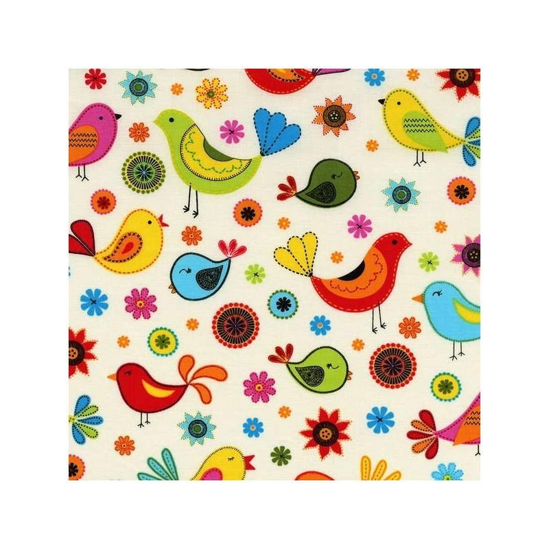 Cream Floral Birds-bavlněná látka Timeless Treasures - 1