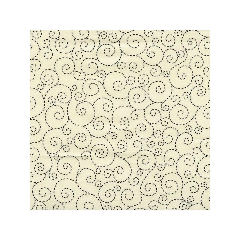 Cream Stitch Scroll-bavlněná látka Timeless Treasures - 1