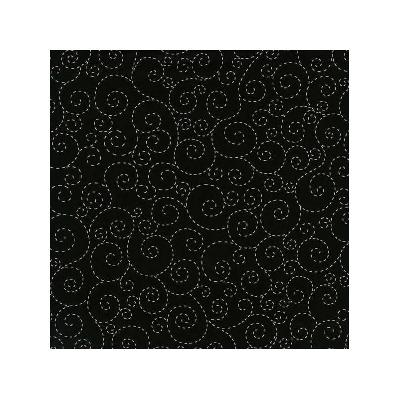 Spirálky černé -bavlněná látka Timeless Treasures - 1
