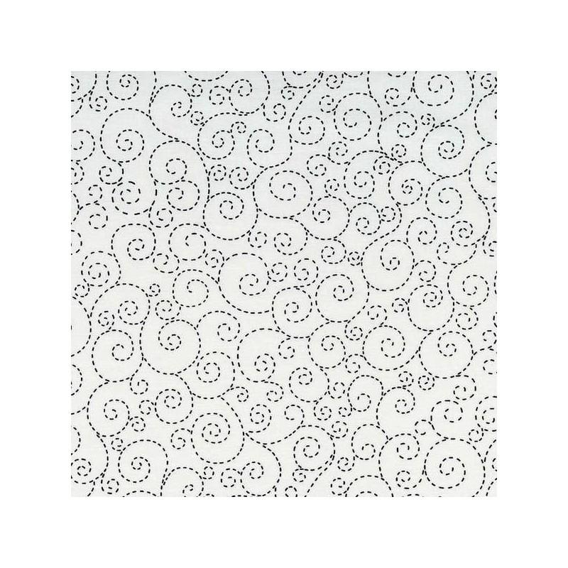 White Stitch Scroll-bavlněná látka Timeless Treasures - 1