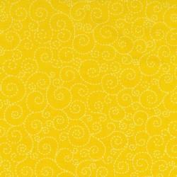 Spirálky-žluté-bavlněná látka