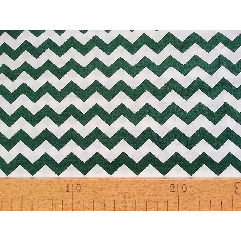 Bavlněná látka T0112 - chevron tmavě zelená  - 1