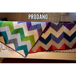 PRODÁNO - CHAMBRAY CHEVRON - patchwork deka  - 3