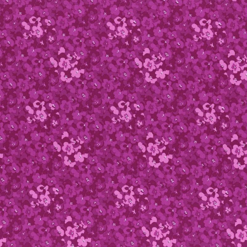 Látka L´s Modern Garden - BERRY PANSIES Lecien Japan - 1