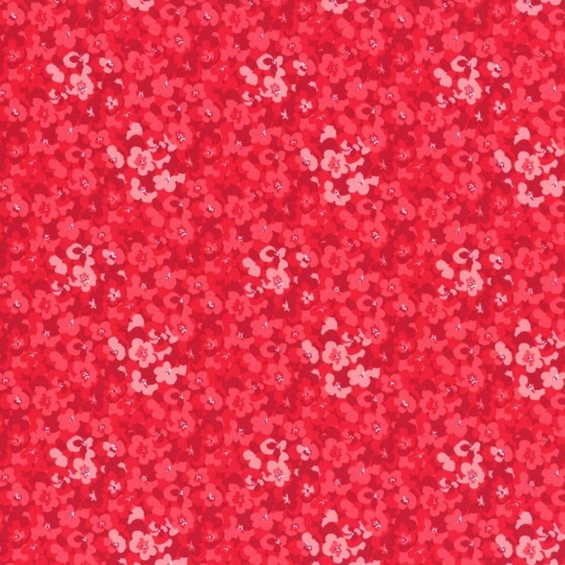 Látka L's Modern Garden - CRANBERRY PANSIES Lecien Japan - 1