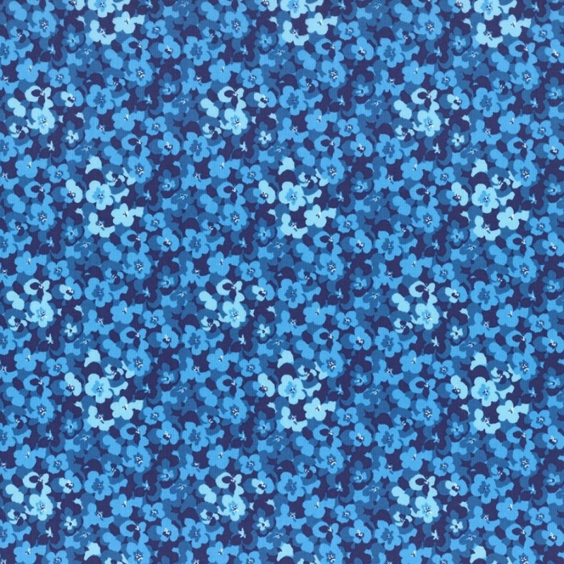Látka L's Modern Garden - COBALT BLUE PANSES Lecien Japan - 1