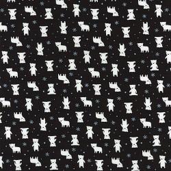 Látka MINI MUU SPRING 2016 - BLACK POLAR  BEARS Lecien Japan - 1