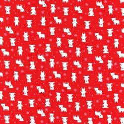 Látka MINI MUU SPRING 2016 - RED POLAR BEARS Lecien Japan - 1