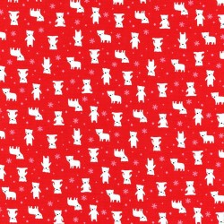 Látka MINI MUU SPRING 2016 - RED POLAR BEARS Lecien Japan - 1