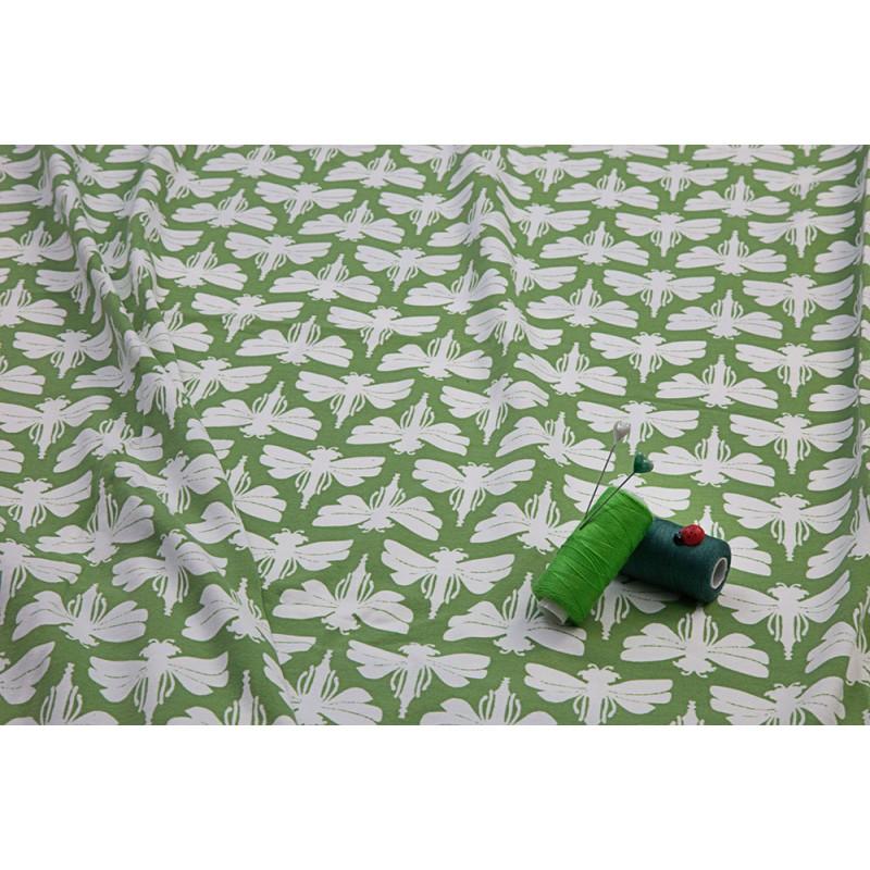 DRAGONFLIES - GREEN-cotton knit