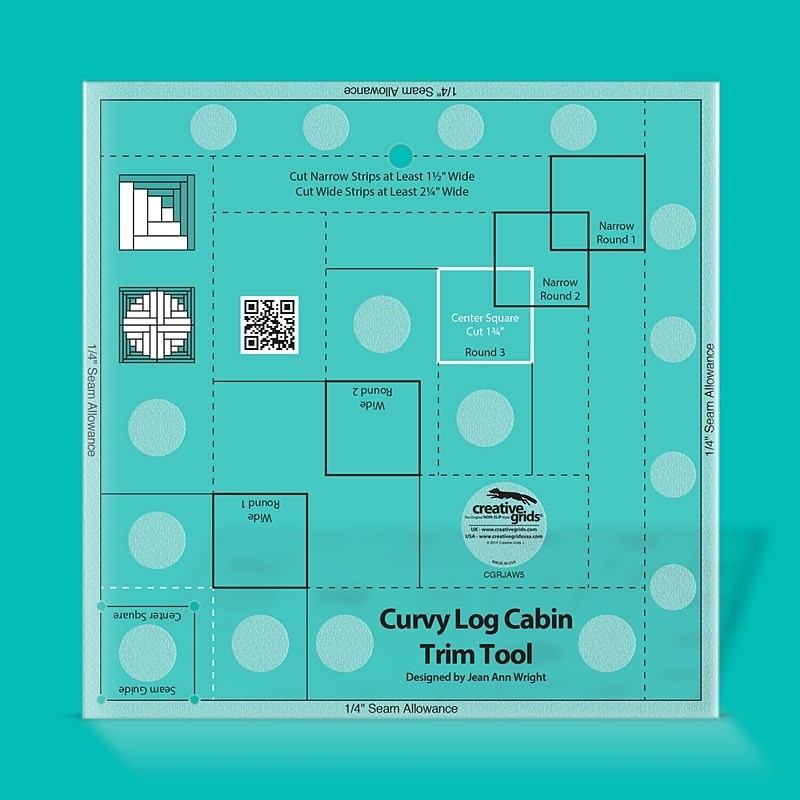 "Pravítko na patchwork Curvy Log Cabin Trim Tool 8"" CREATIVE GRIDS - 1"