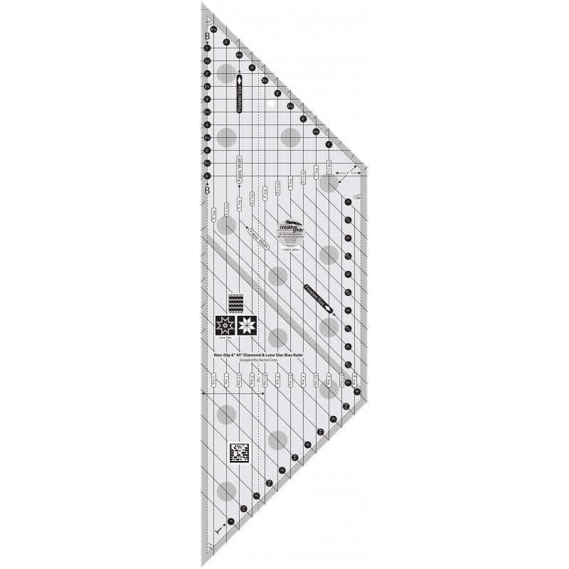 "6"" 45° Diamond and Lone Star Bias Ruler"