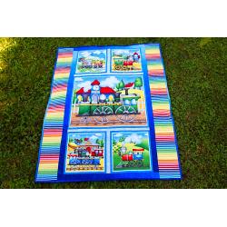 Dětská patchwork deka - MAŠINKY  - 3