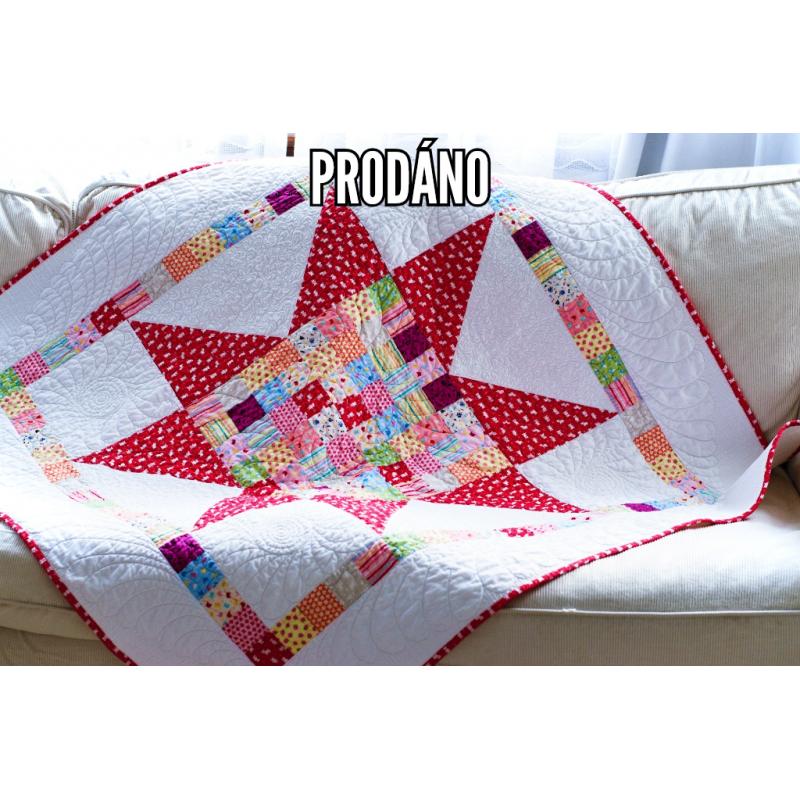 PRODÁNO - PATCHWORK DEKA DĚTSKÁ - BIG STAR  - 1