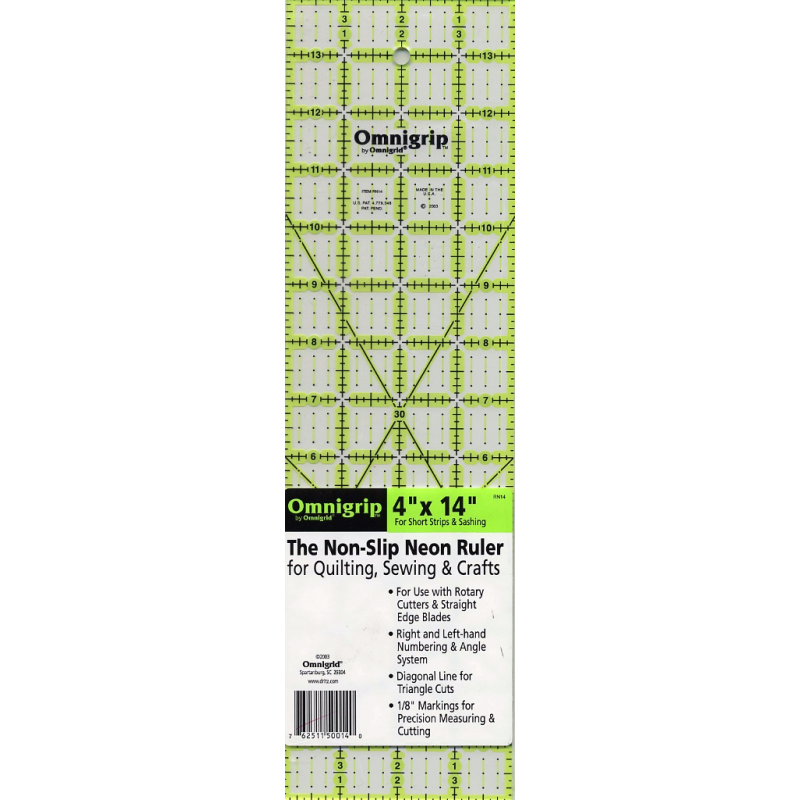 Omnigrip Neon Ruler 4in x 14in  - 1