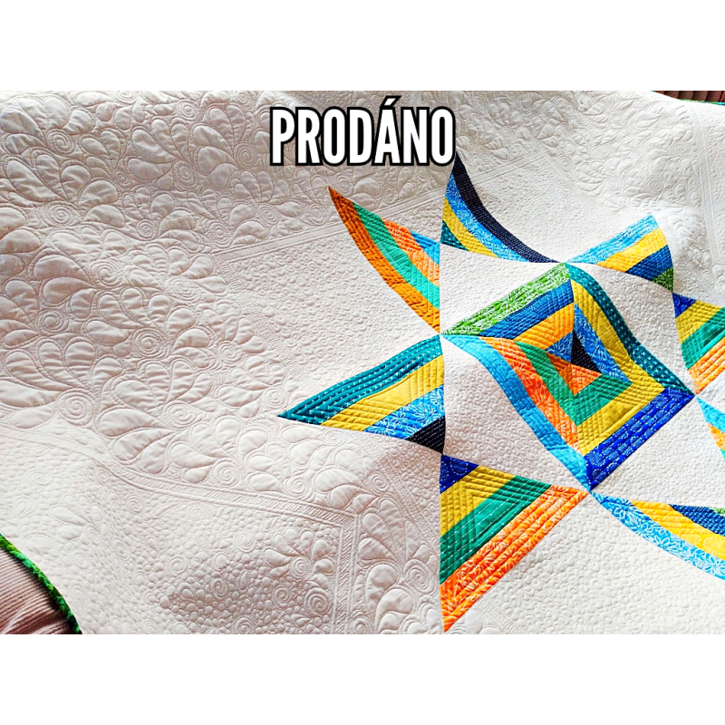 PRODÁNO-PATCHWORK PŘEHOZ/DEKA - OHIO STAR  - 1