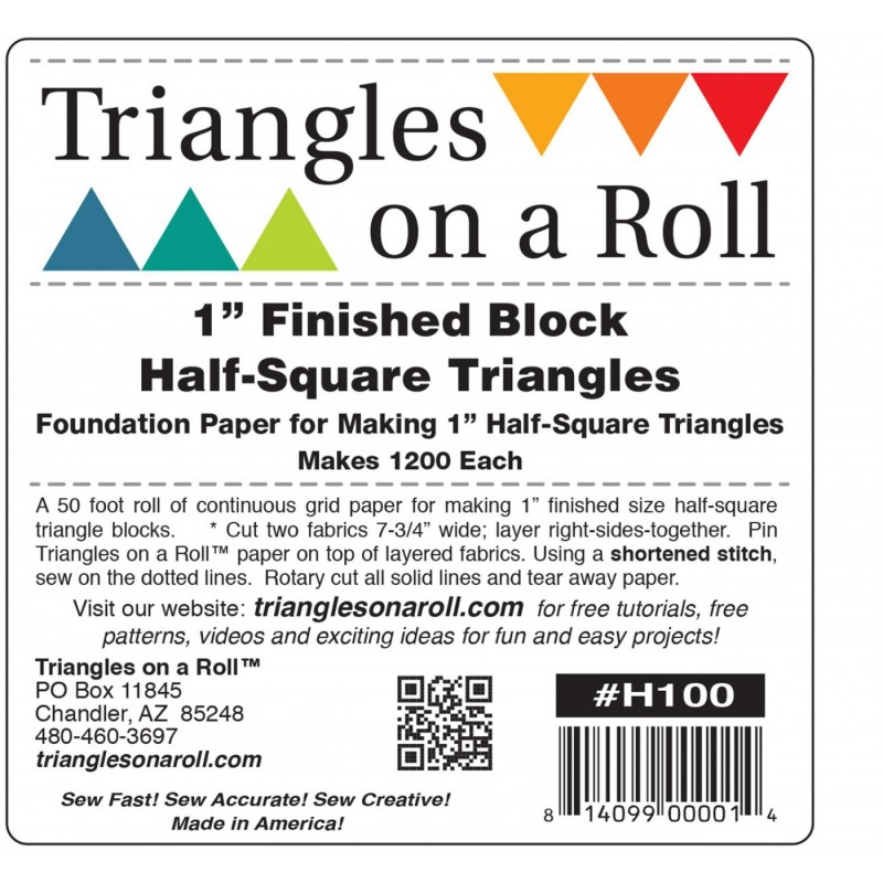 Triangles on a Roll 1iin Half Square TRIANGLES ON A ROLL - 1
