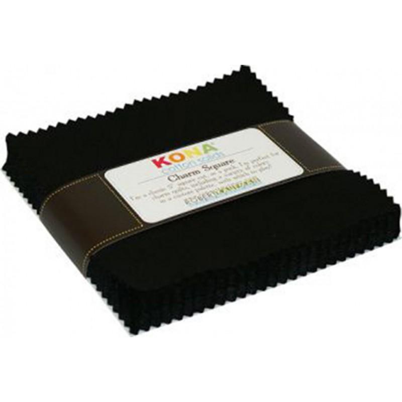 KONA SOLIDS CHARM PACK- BLACK  - 42 ks Robert Kaufman - 1