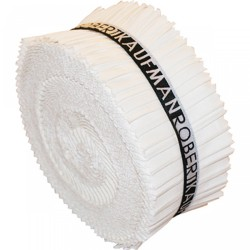 KONA SOLIDS - WHITE JELLY ROLL Robert Kaufman - 1